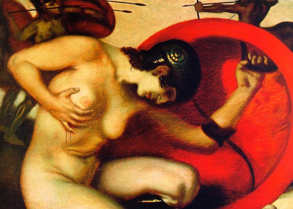 Franz Von Stuck   Wounded Amazon gewonde amazone 580x414 Androgynie en femme fatale bij Franz von Stuck 